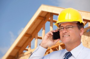 London Builder on the phone